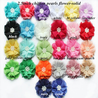 """Free Shipping!180pcs/lot ,2.5"""" frozen hair accessories Beaded Chiffon Flower Pearl Chiffon    (17colors for selection)"""