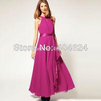 FreeShipping 2014 Hot Women Trendy Elegant Brief Chiffon Comfortable Sleeveless Sashes Solid Long Maxi Day Prom Swing Boho Dress