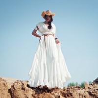 [LYNETTE'S CHINOISERIE - MOK ] Summer Women White 12Meters Sweep Chiffon Slim Maxi Beach Dress; Greece Goddes Dress Sz S M L XL