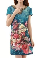Women's Fashion floral print beading V-neck short-sleeve plus size silk one-piece dresses