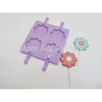 New Silcone Ice Cream Mold Lollipop Mould Brain Freeze Ice Cube Popsicle Molds Silicon Mold Cake PopsFlower Shape(FDPM-001)