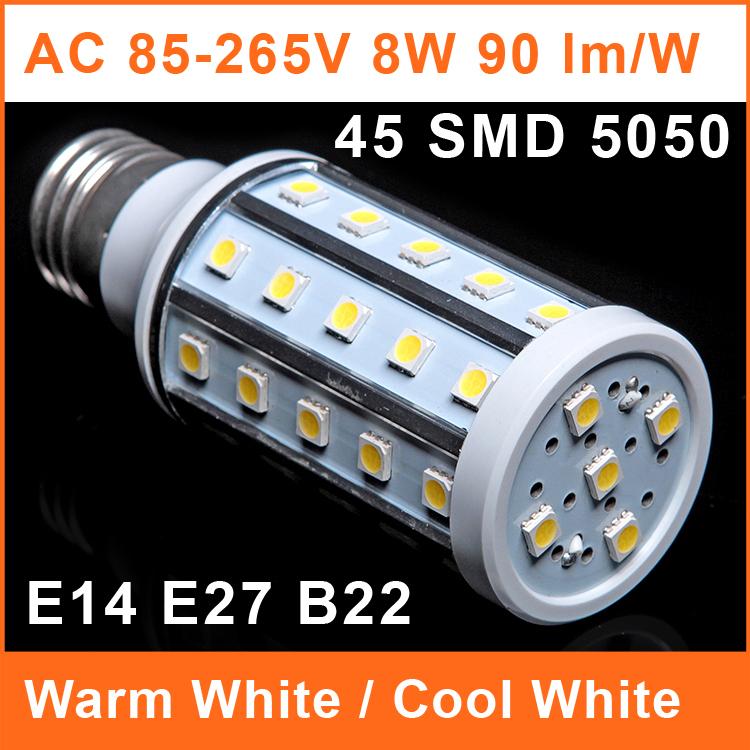 LED Corn Bulb E27 110V 220V Lamp 8W 45 SMD 5050 90lm/W E14 B22 Aluminum Shell Warm White 43*117mm Cool White LYM001(China (Mainland))