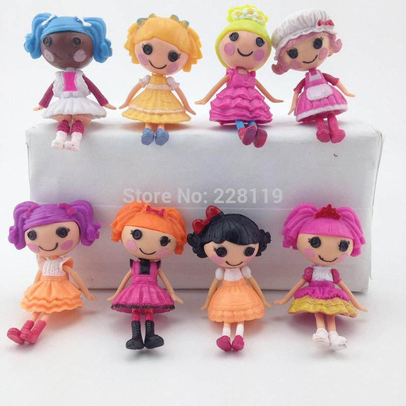 2014 New MGA mini 8CM Lalaloopsy Doll the bulk button eyes toys for girl classic toys Brinquedos 8pcs/lot(China (Mainland))