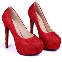 Spring 2014 Shoes New Arrived Thin Heel Platform Women Pumps Red Bottom High Heels Women Wedding Shoes Free Shipping