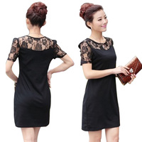 New 2014 free shipping women spring summer Lace Dress short sleeves base Casual Lady Dresses flowers Hollow out Net yarn S~3XL