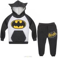 Retail New Fashion 2014 Children Outfits Tracksuit Batman Clothing Children Hoodies + Kids Pants Sport Suit Boys Clothing Set