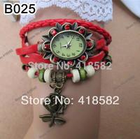 B025--Min.1pc 7 colors vintage leather bracelet watch rose flower rhinestone watch women leather wristwatches