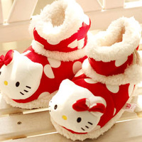 Cartoon kt at home floor slippers child birthday gift plush home boots lovers thermal cotton boots