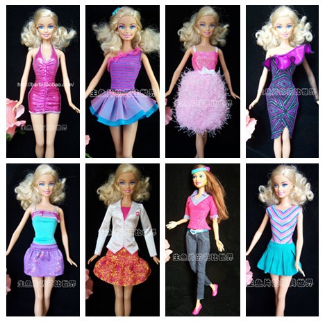 2014 New Handmade Party Doll's Dress Clothes Shoes Gown For Barbie best baby christmas gift A20(China (Mainland))