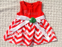 Hot Sale chirstmas Knee-Length Fashion Girls Dresses for baby girl dress Girls Red Clothes KP-BPD006