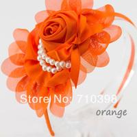 Free shipping 30pcs/lot Baby girl headband & hairband Chiffon Rose Flower Pearls headband Newborn Hair Accessories Christmas