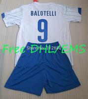 Free DHL/EMS 2014 away white balotelli cassano derossi gattuso pirlo soccer jerseys kits (shirts + shorts) + can custom names