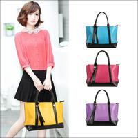 Brand New 2014 Fashion Patchwork Tassel Women Handbag Messenger Bags Genuine Leather Blue Red Purple Yellow NO228 Free shipping