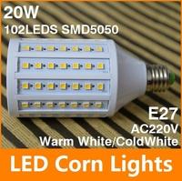 SMD5050 E27 LED 220V 20W LED bulb lamp 102leds,Warm white/white LED Corn Bulb Light,free shipping
