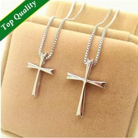 Necklaces & Pendants,Pingente Masculino,Vintage Metal Sterling Silver Cross Couple Lover Unisex Necklace,Amulet,N129