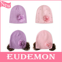 Spring 2014 Fashion Girl Hats With Wig Hair Flower Cap Beanie Cute Kids Accessories Free Shipping