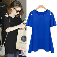 Free Shipping 2014  Summer Loose Plus Sizes O-Neck Chiffon T-shirts for Girls And Women With Short Sleeve 3 Colors 8908