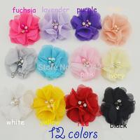 Trail order Beaded Chiffon Flower Pearl Rhinestone Chiffon Flowers Ruffled Flower Flat Back dress/hair accessories 60pcs/lot