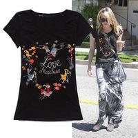 2014 fashion cartoon print hot drilling decoration cotton t shirt women 2colors S,M,L Free shipping