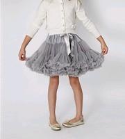 Fashion baby girls gray chiffon pettiskirts and tutu Girls tulle fluffy skirts dance wear party costume princess skirts   2-8 Ys