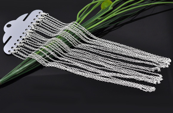 "hot- 12 Silver Plated Lobster Clasp Cable Link Chain Necklaces 18"",Links:4x3mm (B12717)(China (Mainland))"