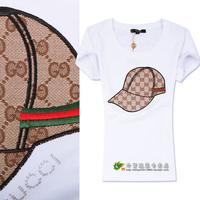2014 fashion baseball cap pattern slim short-sleeve cotton t shirt women 2colors S,M,L,XL,XXL Free shipping