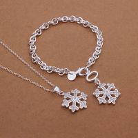Free shipping wholesale  925 silver jewelry set, fashion jewelry set keys / snowflake / star bracelet necklace Jewelry Set S357