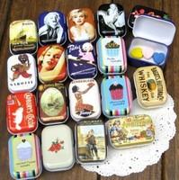 Free shipping 32pcs/lot European vintage style mini smll Iron tin box storage case 16 Design ship mix5.5X4X3.2cm