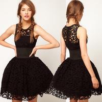 Full lace Spring 2014 new European style lace hollow round neck sleeveless black dress tutu