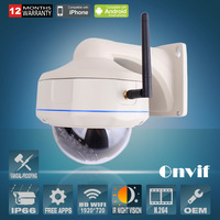 CMOS Sensor 25fps 30 IR Outdoor Waterproof Vandal-proof Dome Onvif  H.264 1.0 Megapixel 720P Network Wireless WIFI IP Camera