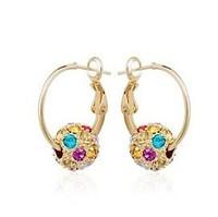 Hot Selling Fashion Luxury Colorful Round Ball Crystal Stud Earrings For Women Lady Ear Pendants Female Eardrop Free Shipping