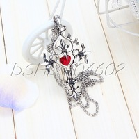 Retro Gothic Punk Cross with Red Heart Pendant Necklaces Creative Design