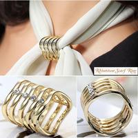 Wavy Rhinestone Scarf Slide Tube 18K Gold Plated Wholesale 2Pcs/Lot  Fashion Scarf Ring High Quality Free Shipping