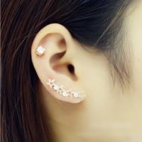Wholesale 18K Genuine Gold Plated U Pin Earrings, Rhinestone Inlay Star Stud Earrings For Women 2014 Free Shipping, A021