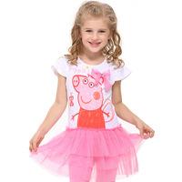 Peppa pig Kids Girls Dress 2-6Y fashion Lovely Cotton Pink Beautiful Lace princess dress
