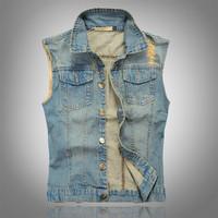 Slim men sleeveless denim vest lapel single-breasted casual fashion new 2014 Spring Summer   Autumn