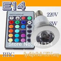 LED Bulb 20pcs/lot 3W E14 RGB LED Spotlight LED Lamp +24key IR Remote Controller