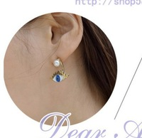 Min order 5$ Freeshipping(mix order) 2014 New Fashion Blue ladies eyes pearl stud earring cosplay earring jewelry