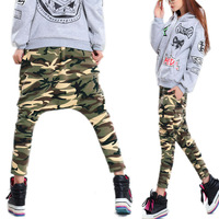 Stylish Womens Big Crotch Pants Mans Hip Hop Harem Pants Trouser Camouflag Chic free shipping