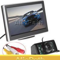 5 Inch TFT LCD Screen HD Panel Color Car Rear View Camera With Monitor + 7 IR Lights Night Vision Reversing Backup Car Camera