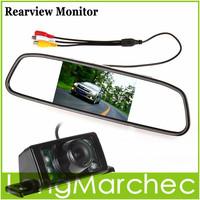 "Parking Kit With 4.3"" TFT LCD Display Car Rear View Mirror Monitor + 7 IR Night Vision RearView Reversing Backup Camera"