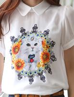 New 2014 free shipping spring summer women Chiffon base Blouse short sleeve printing large size korea fashion tops animal S-XL