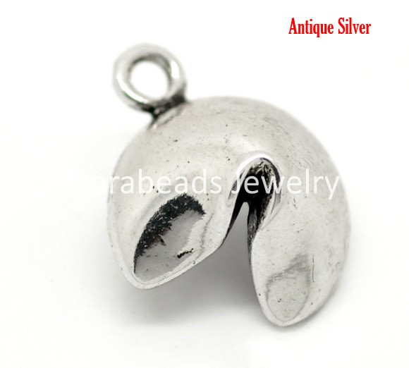 Lovely Jewelry! Antique Silver Lucky Fortune Cookie Charm Pendants 20x15mm, sold per packet of 20 (B17396)(China (Mainland))