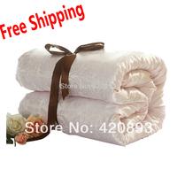 Free Shipping Family Set Quilt 100% Cotton Fabric Silk Comforter 1 X Winter + 1 X Summer  Mulberry Silk Filling Quilt