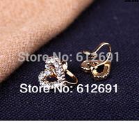 Heart ear clips Korea no pierced ear clip charms crystal earring personality ear cuff 18k plated LM-HC-01 free shipping