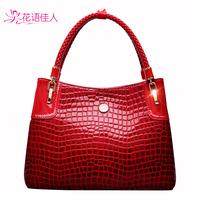 2014 fashion women's handbag crocodile pattern handbag one shoulder bag messenger bags genuine leather totes