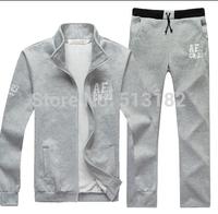 High Quality British Style Mens Slim Plus Thick Velvet Cardigan Sets  Male Fashion Sports Cotton Suits  Men Sets M- XXXL