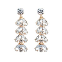 David jewelry wholesale E263 Fashion elegant  18k gold earrings women earrings crystal earrings long earrings