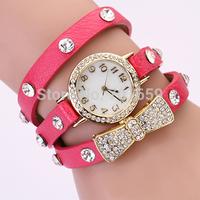 2014 hot promotions  Retro Punk Styles Rivet Strap Girls & Women chain Leather Butterfly love Rhinestone bracelet Dress Watch