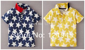 Розничная 18 м ~ 6 т новый летний бренд ребенок дети одежда топы хлопок отложным воротником звезд свободного покроя мальчиков майка 5876/5877